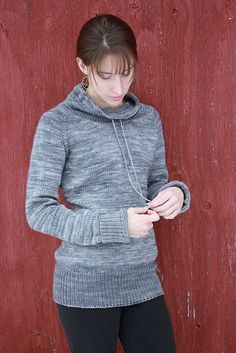 """""""Ease"""" pullover by Alicia Plummer. I can't decide if I want to make the scooped neck or the drawstring collar."""