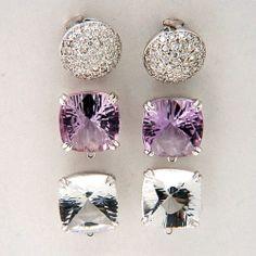 Vintage 2 25ct Pave Diamond 14k White Gold Domed Earrings Dangle Amethyst Quartz | eBay