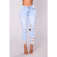San Clemente Distressed Jeans Light Blue ($33) ❤ liked on Polyvore featuring jeans, light blue ripped skinny jeans, stretchy jeans, light blue skinny jeans, destroyed jeans and stretch skinny jeans