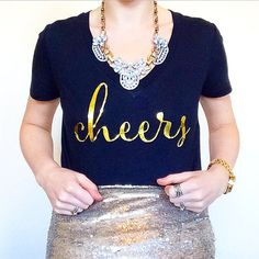 Cheers Champagne Cocktail Metallic Gold Foil Edition Typographic Graphic Tee Slogan Tshirt is perfect for gifts, parties, birthdays, holidays,
