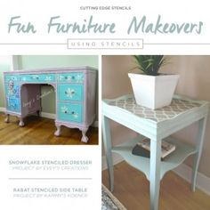 Cutting Edge Stencils shares how paint, pattern, and some decorative knobs can transform an old furniture from blah to ooh la la. http://www.cuttingedgestencils.com/craft-stencils-furniture-stencils.html