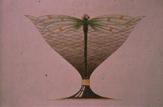 Gustav Gaudernack design for Dragonfly vase in gilt silver and plique-a-jour enamel . 1908.