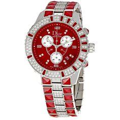 Christian Dior Christal Sapphire/Diamond Chrono Watch featuring polyvore, fashion, jewelry, watches, christian dior jewelry, sapphire jewellery, water resistant watches, diamond watches and christian dior