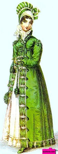 1817   Pelisse, or Walking Dress, or Redingote, English.  Green walking dress worn over a white Empire style high-waisted dress with high neck frill and hem frill. Pelisse has military style cord, braid, and fastenings and with a matching green and white hat and reticule. Fashion Plate from John Belle's La Belle Assemblee.  suzilove.com
