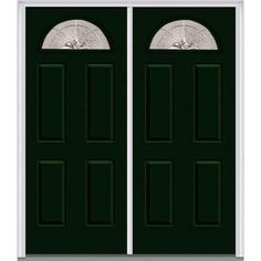 Milliken Millwork 66 in. x 81.75 in. Heirloom Master Decorative Glass 1/4 Lite Painted Majestic Steel Exterior Double Door, Hunter Green