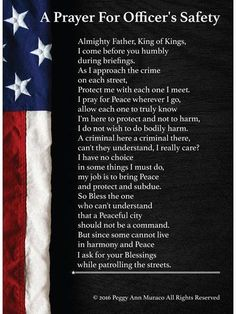 Law Enforcement Police Officer Poster Prayer for Protection- Love this poster! Etsy
