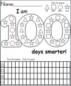 This is a FREE graphing and shape recognition activity for the day of school. It's a wonderful activity for Kindergarten students. Children color the shapes, then they complete the graphing activity by counting the shapes in the 100 days picture. 100 Days Of School, School Holidays, School 2013, School School, 100s Day, 100 Day Celebration, Graphing Activities, School Worksheets, Printable Worksheets