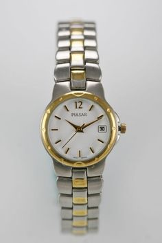 Pulsar Watch Womens Gold Silver Steel Stainless Water Resist Date White Quartz
