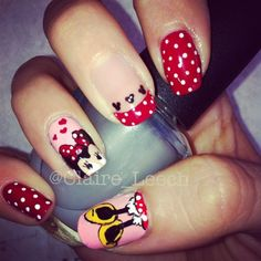 Minnie Mouse nails by claireleech from Nail Art Gallery