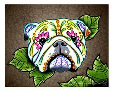 English Bulldog - Day of the Dead Sugar Skull Dog Art Print 8 x 10