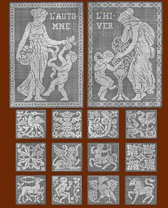 "Iva Rose Vintage Reproductions - Le Filet Ancien #1 c.1914 - Vintage Lace Designs of France (Large Format 11"" x 17"" size)"