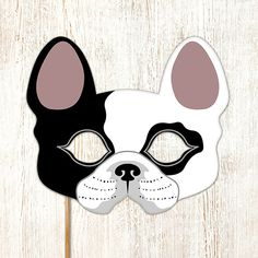 Dog Mask French Bulldog Boston Terrier Printable Animal Childrens Halloween Masks Party PDF Costume Masquerade Birthday Carnival Adults Kids