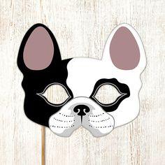 Dog Mask French Bulldog Boston Terrier Printable Animal Childrens Halloween Masks Party PDF Costume Masquerade Birthday Carnival Adults Kids