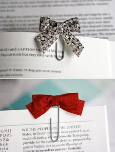 DIY: bow tie paper clips! Would make a super cute bookmark!