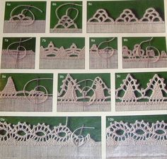 "needle ""crochet"" - very delicate edgings Crochet Borders, Crochet Motif, Irish Crochet, Crochet Yarn, Filet Crochet, Hardanger Embroidery, Lace Embroidery, Embroidery Stitches, Lace Patterns"
