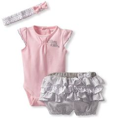 Calvin Klein Baby-girls Newborn Bodysuit with Shorts cute baby clothes for girls