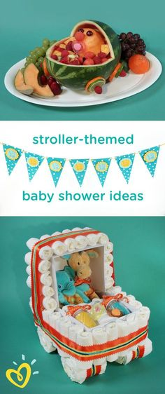 Looking for a unique baby shower theme? This video will give you awesome décor and appetizer ideas that are perfect for a stroller-themed celebration. Impress the mom-to-be with this fruit carriage and diaper cake stroller that doubles as a great baby shower gift!