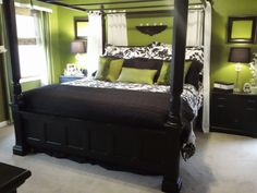 This is what I want the bedroom to look like! Althoughi would do a light grey for the wall instead of the green