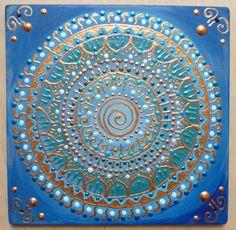 kék Spirálszimbólumos mandala / blue Spiral-symbol mandala