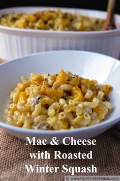 Mac & Cheese with Roasted Winter Squash--a hearty comfort dish from the farm share, inspired by the cookbook Melt: The Art of Macaroni and Cheese.