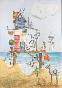 Beach drawing Beach Illustration, Watercolor Illustration, Watercolor Paintings, Watercolour, Beach Drawing, Painting & Drawing, Ecole Art, Cottage Art, Whimsical Art