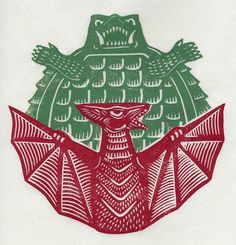Gamera vs Gyaos linocut by Brian Reedy