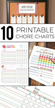 Chore Charts for multiple ages that are free to print out and customize!