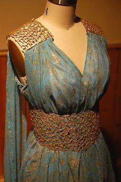 Daenery Targaryen Blue and Gold Dress Gown - Qarth - Game of Thrones Costume Replica Close-Up by tavariel, via Flickr: