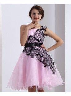 One Shoulder Short Organza A-Line Pink Bridesmaid Dresses Bridesmaid Dresses Online, Prom Dresses, Formal Dresses, Wedding Dresses, Online Sales, Special Occasion Dresses, One Shoulder, Fashion, Formal Gowns