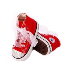 Swarovski Bling Rhinestone Red Converse, bling shoes for baby, kids... ($10) ❤ liked on Polyvore featuring kids