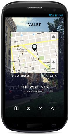 Valet App helps Android-users remember where you've parked; includes meter times as needed.