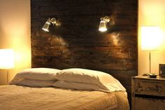 Bedroom. Bedroom. Attractive Rustic Headboard Design Ideas. Awesome Dark Brown Varnished Wooden Tall Headboards With Iron Light Come With White Pillow And White Fabric Cover Plus White Raw Wooden Nightstand Together With White Table Lamp. Rustic Headboard Ideas. Attractive Rustic Headboard Design Ideas