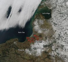 Kaliningrad - WILDFIRES AMIDST WINTER SNOW ON RUSSIA'S BALTIC SHORES.    On Wednesday [Feb 18, 2015], NASA posted the above satellite shot indicating an outbreak of numerous wildfires along a Baltic Sea coastal lowland that is among a furthest western holdings of current day Russia.  The shot displayed a relatively significant outbreak of more than 20 hot spots in a temperate deciduous forest zone bordering the oxygen-starved Baltic Sea. NASA sensors pick up anomalous warm spots and link…