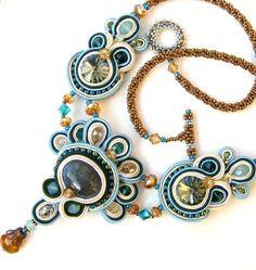 Blue Aqua Cream Soutache beaded necklace Flight of by MiriamShimon, via Etsy.