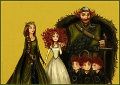 Brave Family Portrait. How gorgeous is Queen Elinor in this piece?