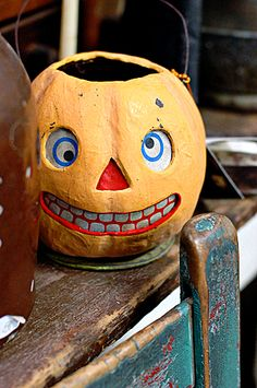 vintage great expression on this german paper mache halloween lantern - German Halloween Decorations