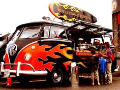 Super-sized flamed VW Bus