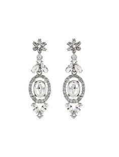 Swarovski Crystal Floral Navette Drop Earrings