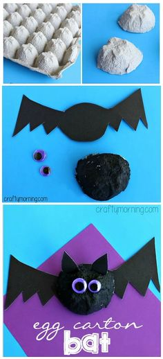 Easy Egg Carton Bat Art Project #Halloween craft for kids | CraftyMorning.com