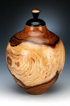 Florida rosewood hollow form with ebony stopper | Jim Burrowes Woodturning