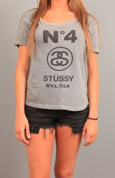 Stussy No. 4 Slouchy Crew Neck Use Code STASH20 for 20% OFF #clothing #apparel #teeshirt #tank #tops #Stussy