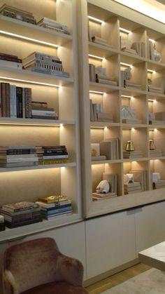 Home Library Design, Home Room Design, Home Office Design, House Design, Apartment Interior Design, Interior Exterior, Futuristic Bedroom, Bookshelves In Living Room, Bookshelf Design