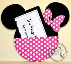 Custom Hot Pink Minnie Mouse Birthday Invitations Handmade by Lisa. $27.50, via Etsy.