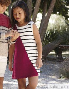 Revista Niños 85 Primavera / Verano   37: Niños Vestido   Granate / Crudo / Negro