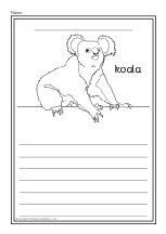 A set of simple printable sheets featuring pictures of various Australian animals for children to colour along with lines for related writing beneath. Australia Animals, Australia Day, Kids Writing, Writing Ideas, Page Borders, Aboriginal Art, Animal Design, Free Coloring, Colorful Pictures
