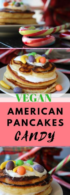 AMERICAN PANCAKES with CANDY and Marshmellow Fluff! Fluffige merikanische Pancakes - VEGAN!