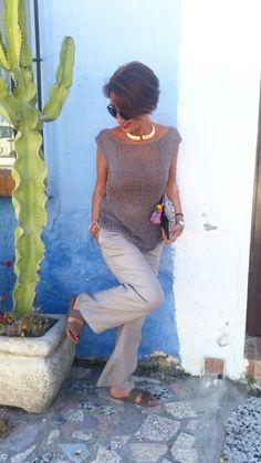 Top de punto para mujer, top algodón sin mangas, jersey de verano, fibras naturales, jersey de punto