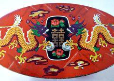 Vintage Dragon Tin Asian Jewelry Box by PopcornVintageByTann