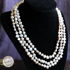 Three Strands Freshwater Pearls Necklace small beads by PEAFAIR
