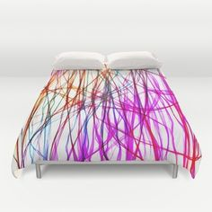 PIXEL RAINBOW Duvet Cover ($79) ❤ liked on Polyvore featuring home, bed & bath, bedding and duvet covers